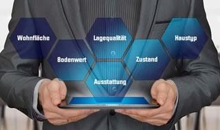 Mann mit Tablet zeigt Inhalt der Wertermittlung: Wohnfläche, Lagequalität, Bodenwert, Ausstattung, Haustyp und Zustand.