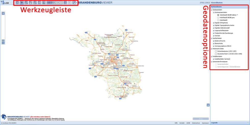 Startsite Brandenburg Viewer mit Werkzeugleiste und Kartenebenen