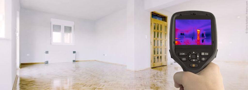 Immobilienkauf - Wärmebild eines Zimmers