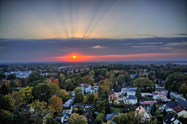 Luftbild Sonnenuntergang Schildow in Mühlenbecker Land